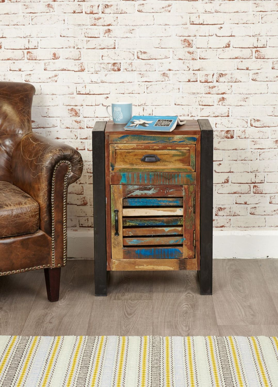Ajai Recycled Lamp Table 1 Door 1 Drawer