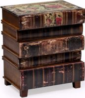 Antiqued Book Side Cabinet