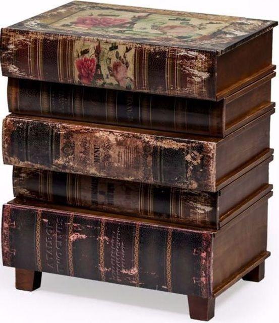 Antiqued Book Side Cabinet