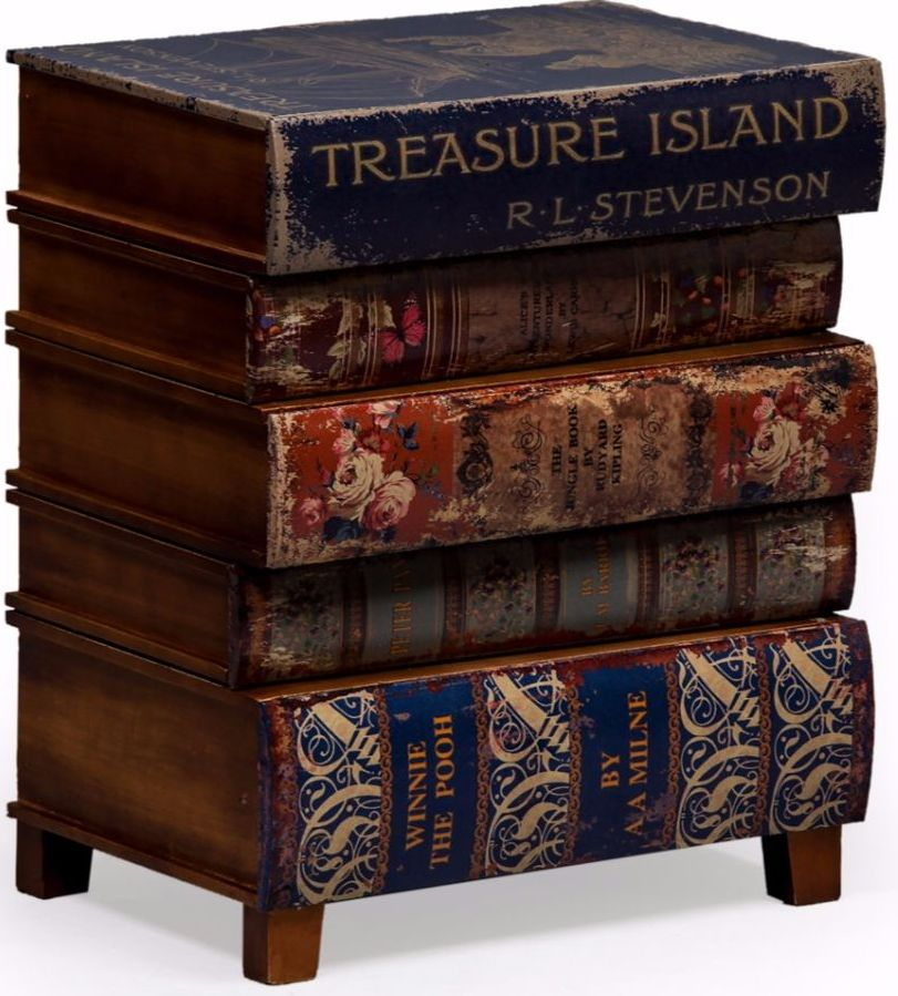 Antiqued Children's Book Side Cabinet
