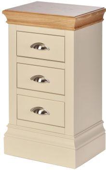 Lundel Bedside 3 Drawer Compact Ivory & Oak