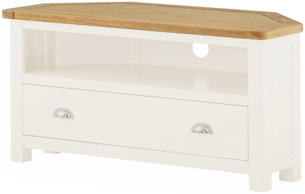 Stratton White TV Cabinet Corner Height 500 Width 970 Depth 450