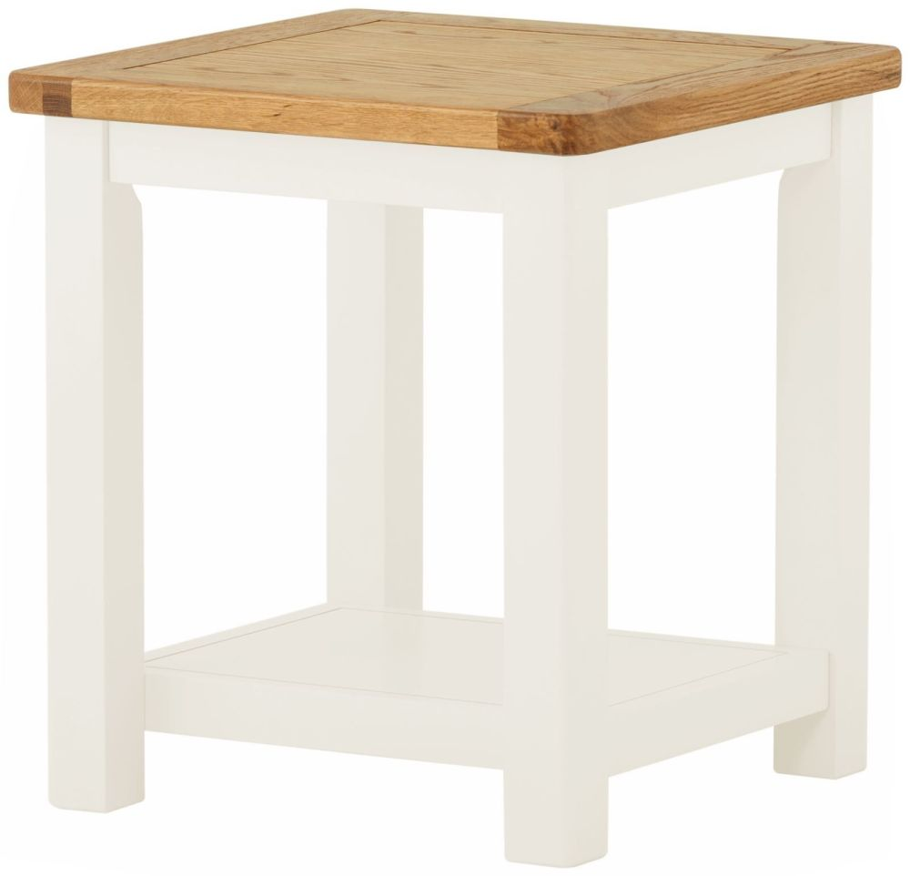 Stratton White Lamp Table Height 500 Width 450 Depth 450
