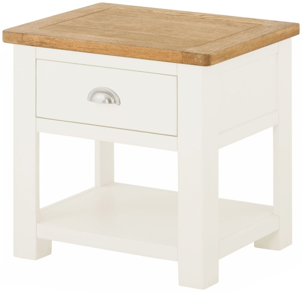 Stratton White Lamp Table with Drawer Height 500 Width 500 Depth 400