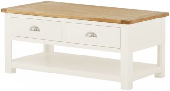 Stratton White Coffee Table with Drawer