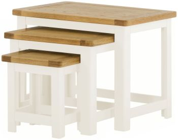 Stratton White Coffee Nest of 3 Tables