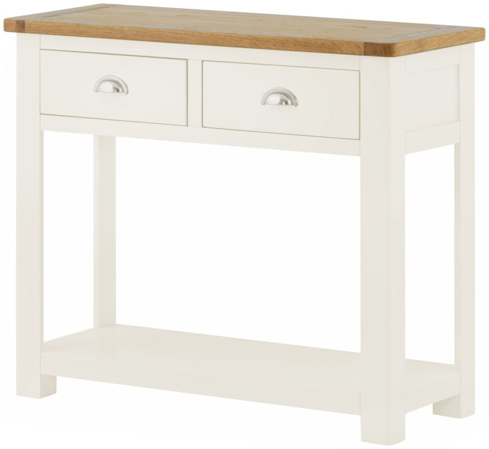 Stratton White Hall Table 2 Drawer Height 750 Width 870 Depth 350