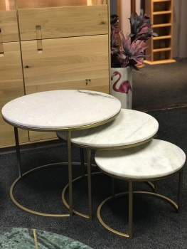 Brass & Marble Nest of Three Tables (Ex Display)