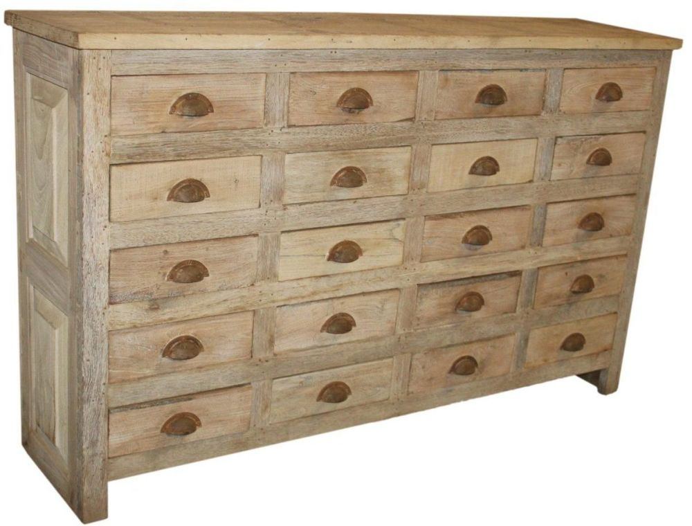 20 Drawer Chest made from Old & New Wood natural antique finish