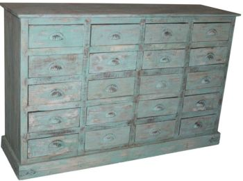 20 Drawer Chest Antique Green