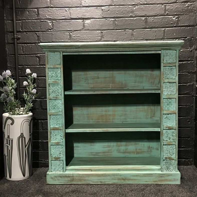 Print Block Large Bookcase Green
