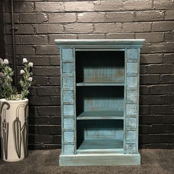 Print Block Small Bookcase Blue