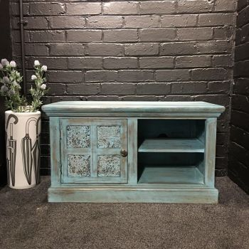 Print Block TV Unit Small Blue