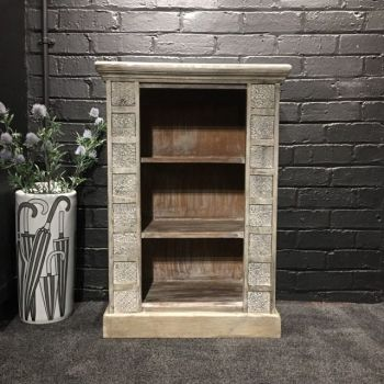 Print Block Small Bookcase Grey