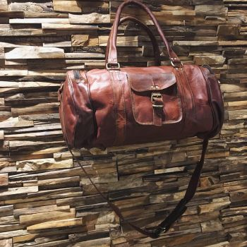 Leather 3 Pocket Duffle Bag