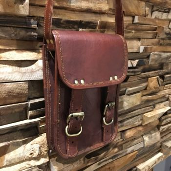 Leather Front Flap Buckle Bag