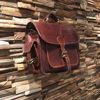 Leather Front Flap Messenger Bag