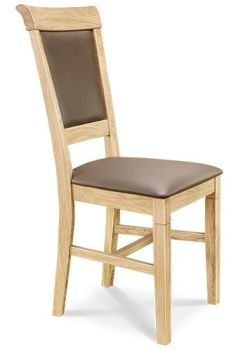 European Oak Dining Chair Leather Back & Seat