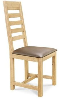 European Oak Dining Chair 5 Ladder Back