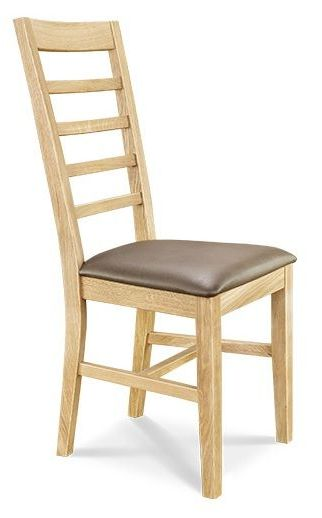 Dining Chair 5 Leather Seat Slat Back European Oak