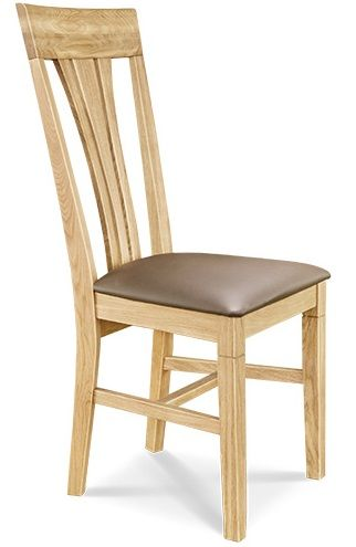 Dining Chair Leather Seat Triple Back European Oak