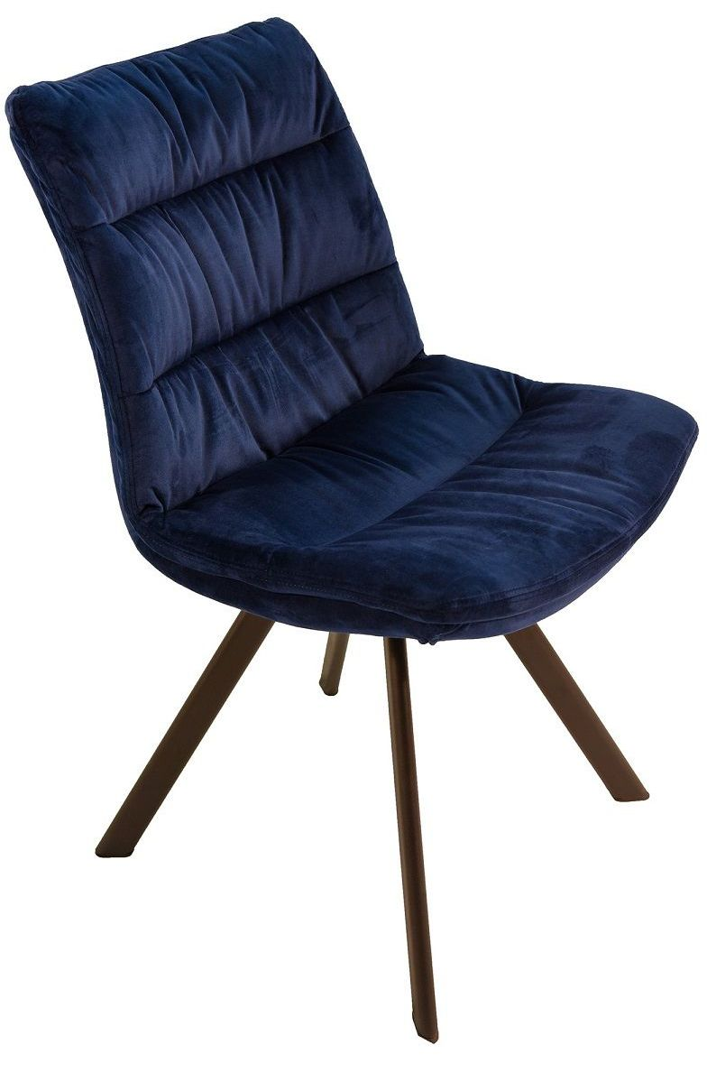 Leah Dining Chair in Blue Velvet