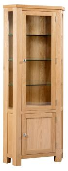 New Amber Oak Display Corner Unit Glazed