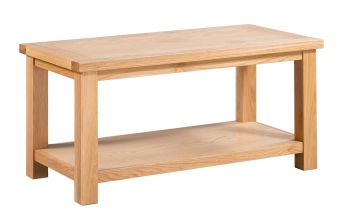 New Amber Oak Coffee Table Large with Shelf