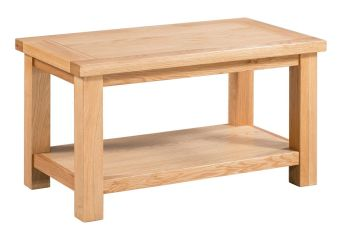 New Amber Oak Coffee Table Small with Shelf