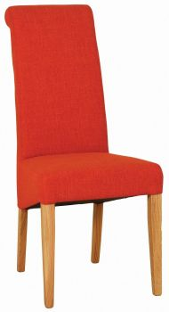 Walter Dining Chair in Orange Fabric