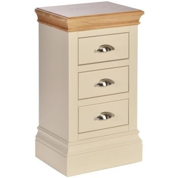 Amelia Chest Bedside 3 Drawer Compact Ivory & Oak