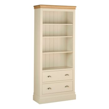 Amelia Bookcase 6ft with Drawers  Ivory & Oak