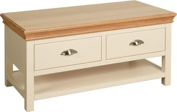 Amelia Coffee Table with Drawers in Ivory & Oak