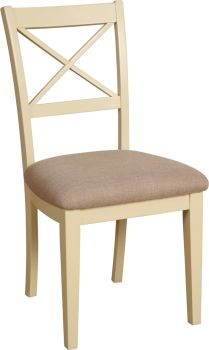 Amelia Dining Chair Cross Back Ivory & Oak