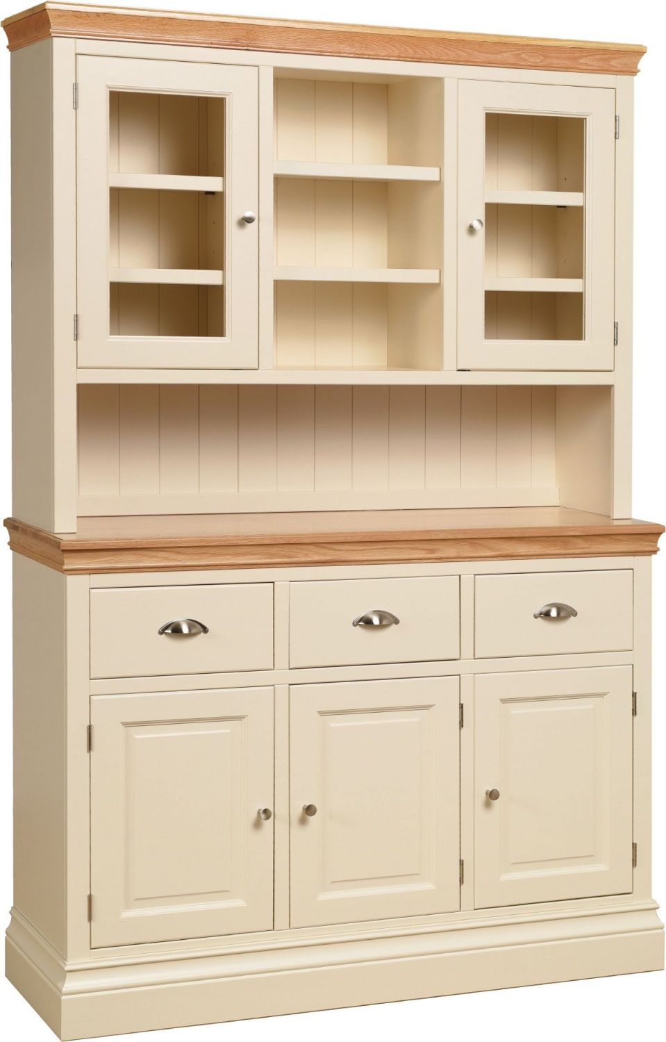 Amelia Dresser Glazed 3 Door in Ivory & Oak