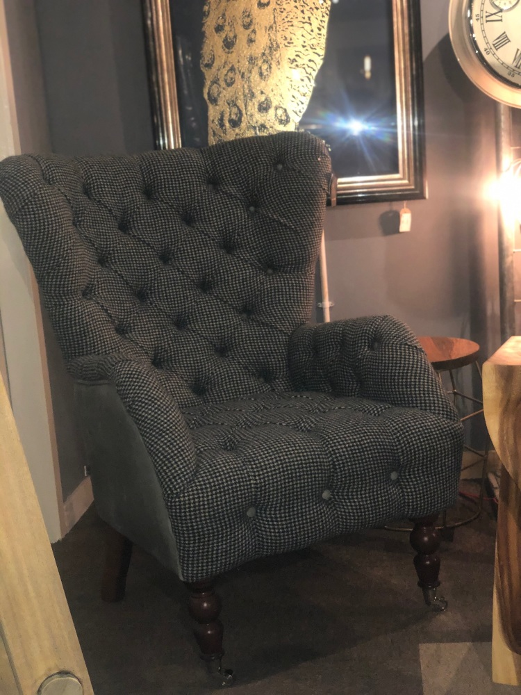 Freeman Wing Chair Harris Tweed & Leather