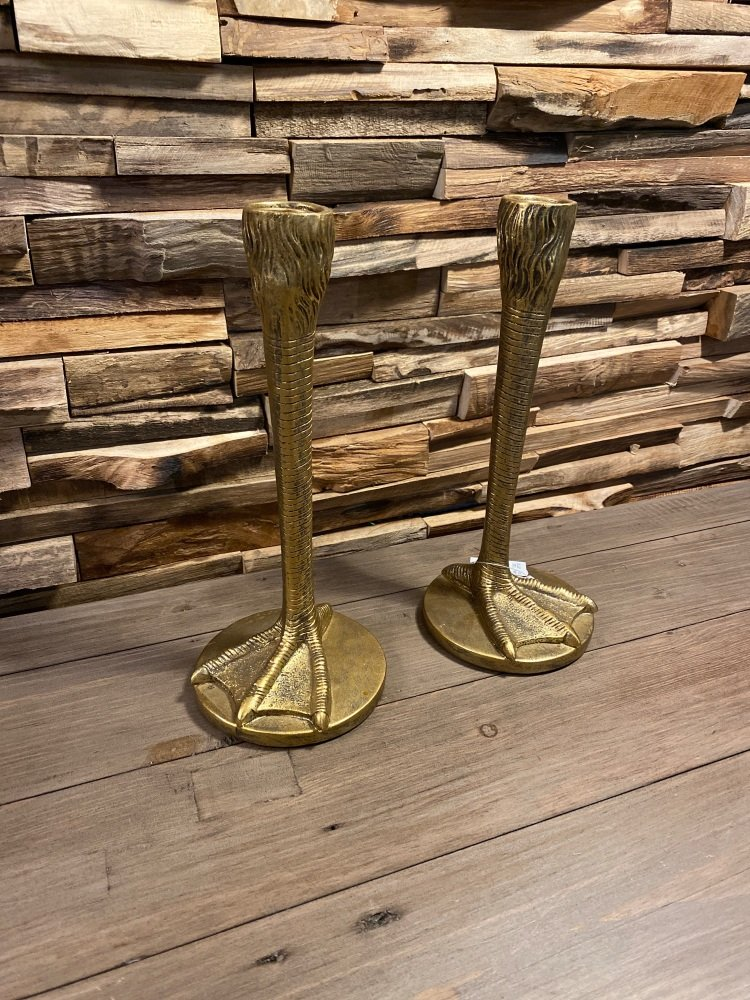 Pair of Gold Bird Leg Candle Holders