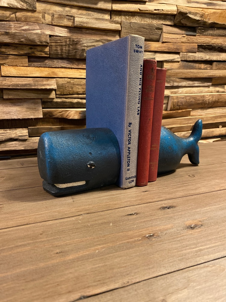 Cast Iron Antiqued Whale Bookends