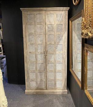 Rustic Print Block Tall Cupboard With Shelves  Doors Ex-Display
