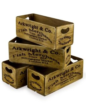Antiqued Billingsgate Market Wooden Box (single)