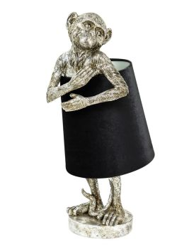Antiqued Silver Bashful Monkey Table Lamp with Black velvet Shade