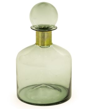 Large Green Apothecary Bottle with Brass Neck