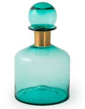 Large Teal Apothecary Bottle with Brass Neck