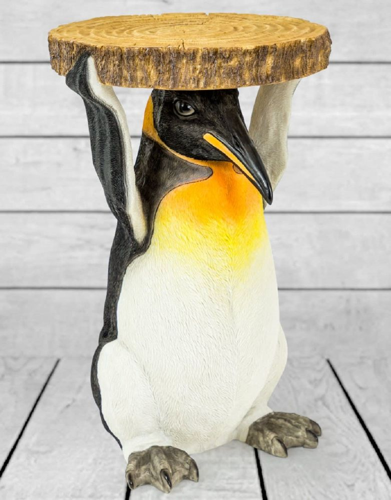 Penguin Holding Trunk Slice Side Table Dimensions W35.5 x H52 x D32.5