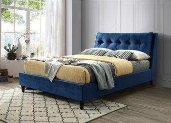 Katie Bed Blue Velvet Fabric Double