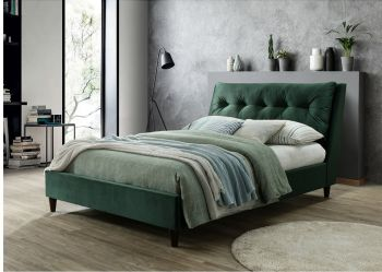 Katie Bed Green Velvet Fabric  King Size
