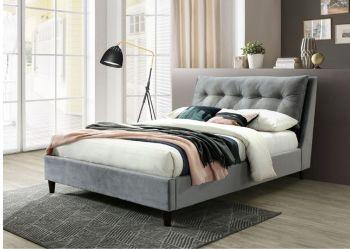 Katie Bed Grey Velvet Fabric Double