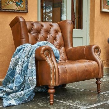 Teo Button Back Chair Upholstered in Leather