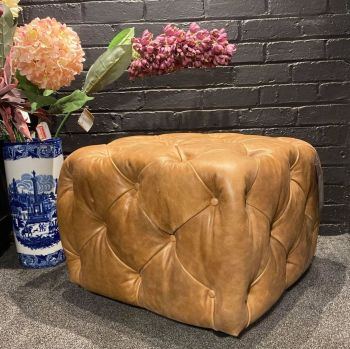 Button Footstool Small Leather