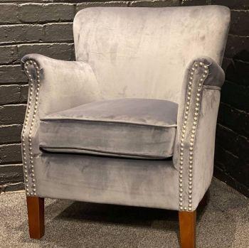 Harlow Chair Grey Velvet